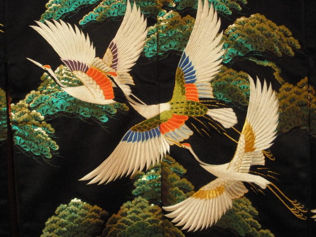 бели жерави - кимоно Япония